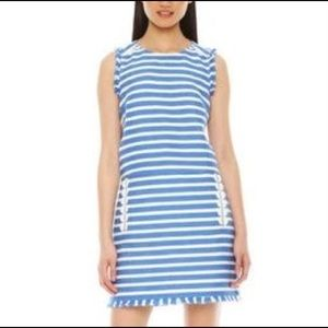 Striped Knit Dress with Fringe - Size 0